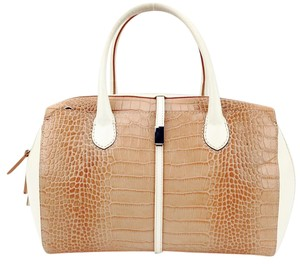 IACUCCI Croc Embossed Leather Crossbody Pebbled Satchel in Tan and Cream
