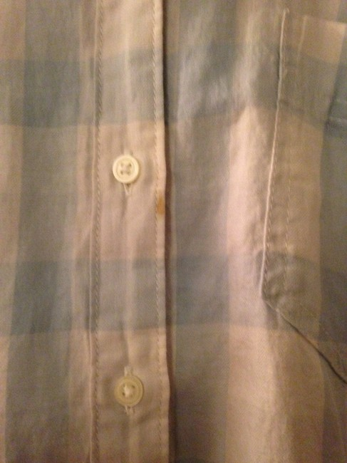 Gap Plaid Button Down Shirt Light Blue/White