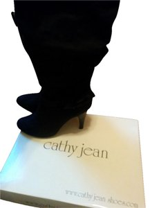 Cathy Jean Knee-high Heel Black Suede Boots