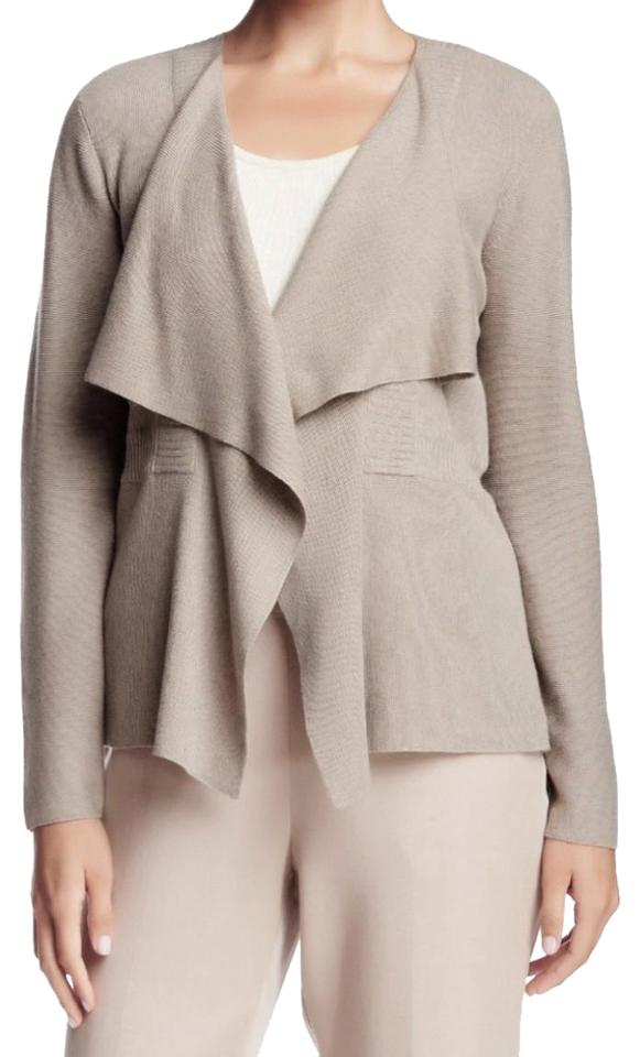 06ef0af311 Eileen Fisher Organic Cotton Ribbed Waist Draped Open Front Long Sleeves  Versatile Color Cardigan Image 0 ...