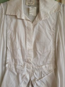 Nigel Preston British Designer One Of A Kind English Designer Tuxedo Shirt Top White