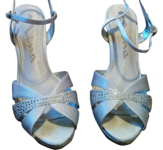 Nina Shoes Heels Bling Rhinestones Strappy Silver Formal