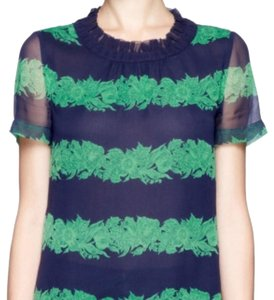 J.Crew Floral Silk Top Navy & Green