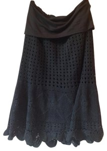 Ravirga Crochet Midi Lace Skirt Black