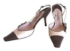 Chanel Heels Stilettos Ribbon Beige and Light Brown Formal