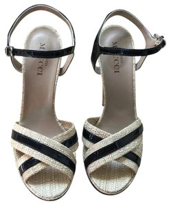 Sesto Meucci Tan with Navy Blue Trim Platforms