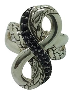 John Hardy sterling silver, black sapphire, figure 8, unisex, fashion ring