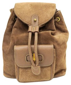 Gucci Bamboo Suede Tote Backpack