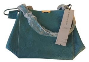 Burberry Leather Tote in Aqua Green