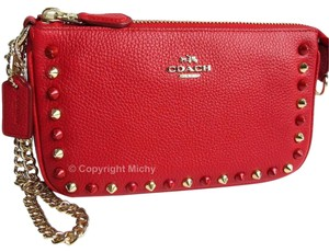 Coach Leather Studded Phone Case Nolita Outline Studs Wristlet in True Red