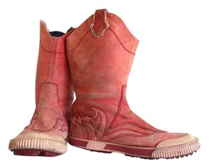 Diesel Cowboy Leather Red Boots