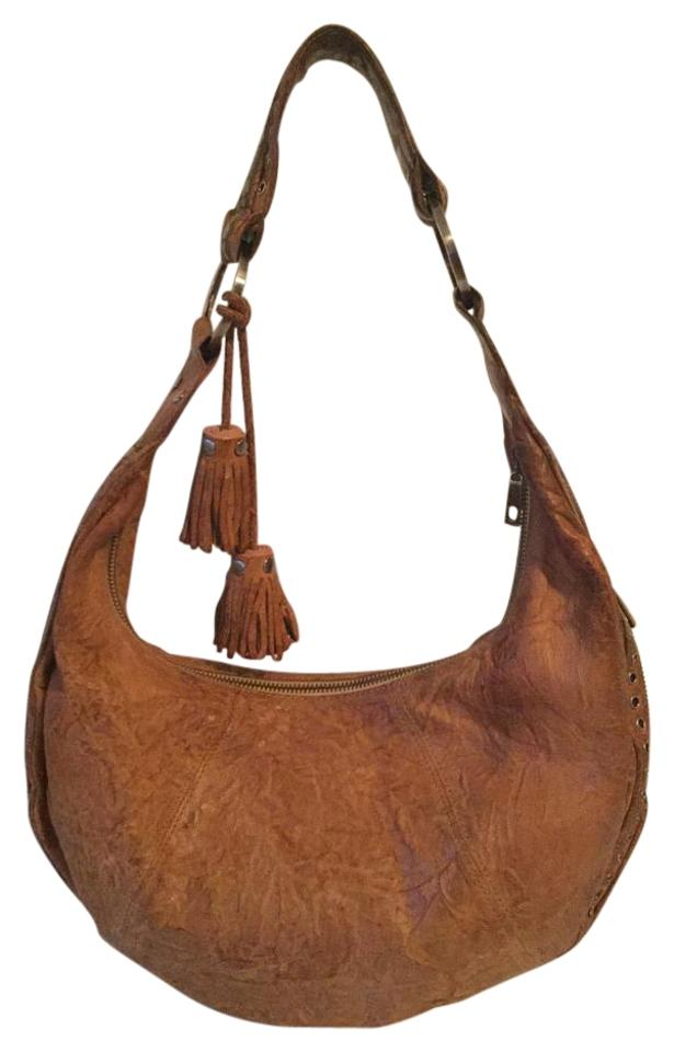 Junior Drake Studded Leather Tassels Hobo Bag