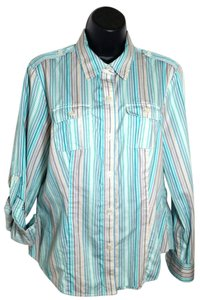 Liz Claiborne Striped Button Up Collared Button Down Shirt Teal