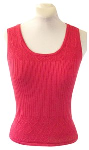 Classiques Entier Sleeveless Knit Silk Sleveless Knit Knit Red Knit Shell Top Coral