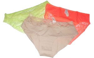 Victoria's Secret Victoria Secret Lace Hiphugger Brief Ruched Back Panty Set (3) Apricot, Yellow, Nude (L) NWT