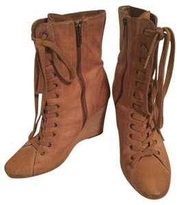 MILLY Leather Mid Calf Cognac Boots