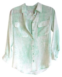 Equipment Button Down Blouse Button Down Shirt Mint Green