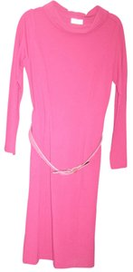 Fuchsia Maxi Dress by Talbots Hot Pink Professional Belted