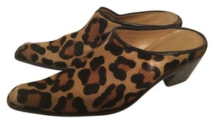 Stuart Weitzman Cheetah Animal Print Leather Mules