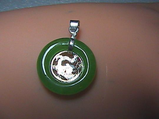 Unknown Sterling Silver Dragon Green Jade Pendant