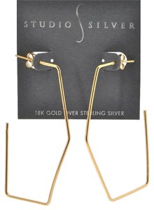 studio silver Studio Silver Large Gold Plated Solid Sterling Geometric Hoop Earrings NWT $70