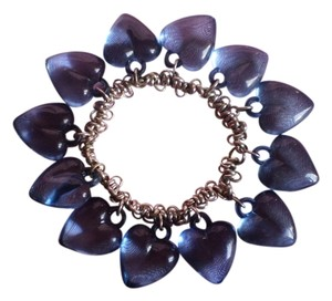 Other Blue Hearts Stretch Bracelet on Silvertone