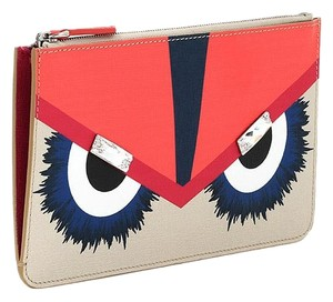 Fendi Orange Coral Blue Multi Clutch