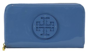 Tory Burch Stacked Zip Around Patent Leather Continental Wallet, Blue Dusk