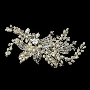 Elegance By Carbonneau Freshwater Pearl And Crystal Wedding Hair Clip