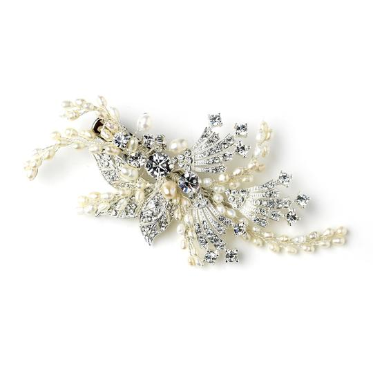 Elegance by Carbonneau Silver/Ivory Freshwater Pearl and Crystal Clip Hair Accessory