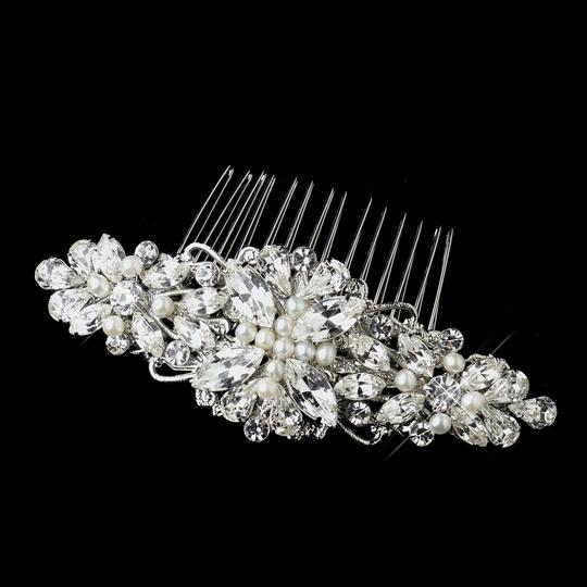 Elegance by Carbonneau Silver/Ivory Pearl and Rhinestone Comb Hair Accessory