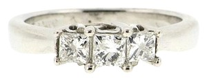 WHOLESALE + GORGEOUS - 14k white gold 3 diamond .53 carat princess past present future ring