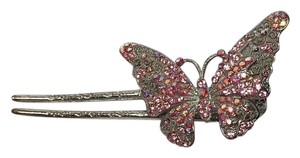 SWARVOSKI CRYSTAL ACCENTED BUTTERFLY HAIR BARRETTE pink and silver Vintage style NEW