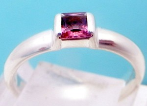 Tiffany & Co. size 8.75, sterling silver, Pink sapphire, solitaire, stacking ring