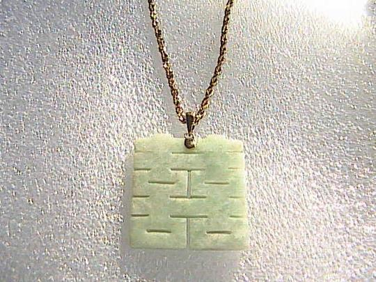 "Other 14k Solid YG Diamond Cut Chain ""DOUBLE HAPPINESS"" Jade Necklace"