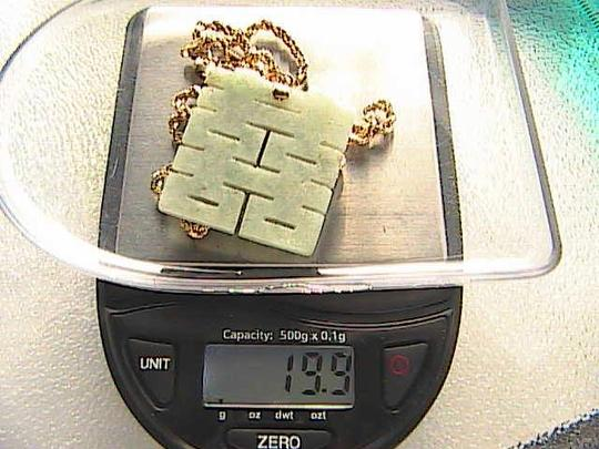 "Other 14k Solid YG Diamond Cut Rope Chain ""DOUBLE HAPPINESS"" Jade Necklace 19.9 grams"