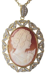 "AMEDEO AMEDEO Pave Crystal Cameo Pendant with 17"" Chain"