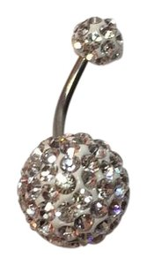 BELLY BUTTON NAVEL RING Silver with Clear Crystal Accent NWOT