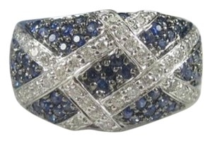 Size 7.25, 14k white gold, 1.80ctw diamond, blue sapphire, dome ring