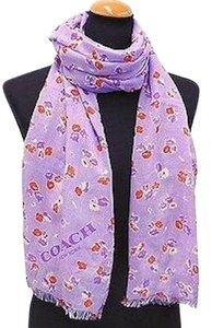 Coach COACH F77777 VINTAGE FLORAL OBLONG SCARF PURPLE NEW WITH TAG