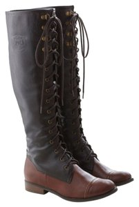 Modcloth Vintage Knee-high Lace Up Brown Boots