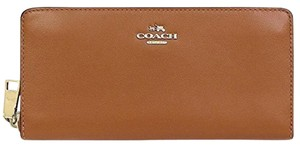 Coach Coach Smooth Slim Accordion Zip Large Wallet Saddle 54075 NWT