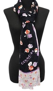 Coach COACH F77776 VINTAGE FLORAL BLACK/ GRAY MULTI SHAWL SCARF NEW WITH TAG