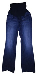 Indigo Blue Stretchy Faded Paneled Boot Cut Maternity Jeans