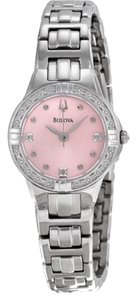 Bulova Bulova Pink Dial Stainless Steel Diamond Watch