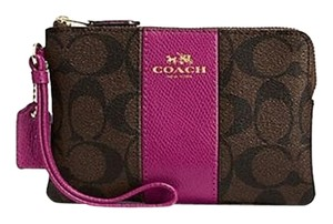 Coach Wristlet in Brown/Fuchsia