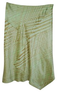 Magaschoni Silk Charmeuse Evening Office Skirt Pale Green Print