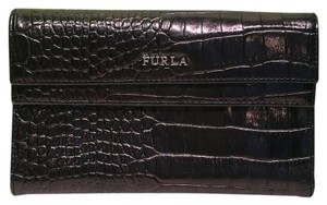 Furla Furla Black Metallic Iridescent Croc Embossed Large Leather Clutch Wallet