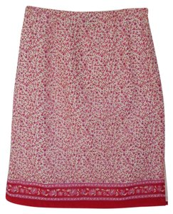 Ann Taylor Cotton Summer Casual Skirt Pink, Red and White