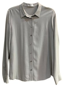 Equipment Silk Button Up Top Grey
